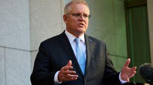 Scott Morrison, le Premier ministre australien, le 17 août 2021 à Canberra. (ROHAN THOMSON / AFP)