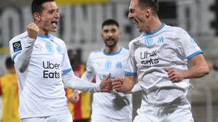 La joie des joueurs de l'OM après un but ( 3 février 2021). (FRANCOIS LO PRESTI / AFP)