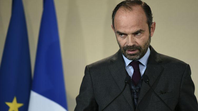 Le Premier ministre Edouard Philippe donne une conférence de presse à Bobigny (Seine-Saint-Denis), le 20 novembre 2017. (STEPHANE DE SAKUTIN / AFP)