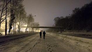 Des personnes marchent sur la N118, à hauteur de Vélizy-Villacoublay (Yvelines), complètement bloquée par la neige, le 6 février 2018. (SAMUEL BOIVIN / AFP)