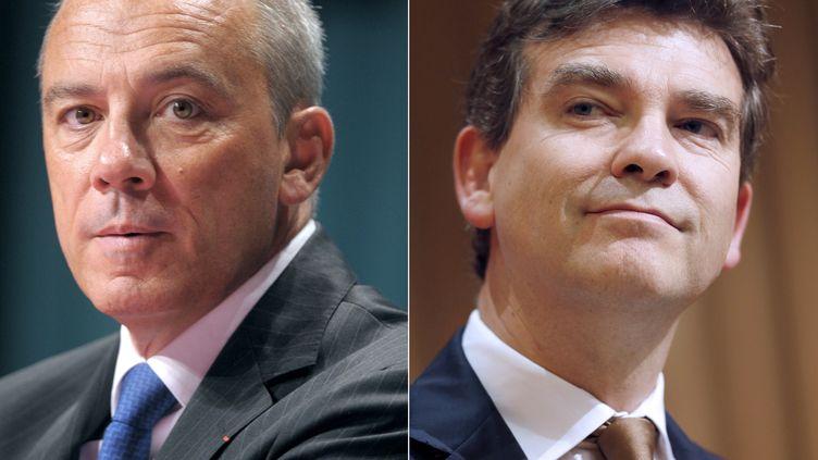 Stéphane Richard, PDG d'Orange, et Arnaud Montebourg, ministre du Redressement productif. ( AFP PHOTO / FAMILLE RODRIGUEZ)