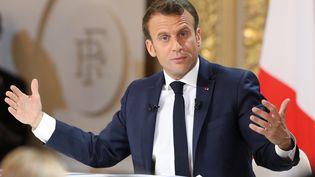 Emmanuel Macron lors de sa conférence de presse à l'Élysée le 25 avril 2019. (LUDOVIC MARIN / AFP)