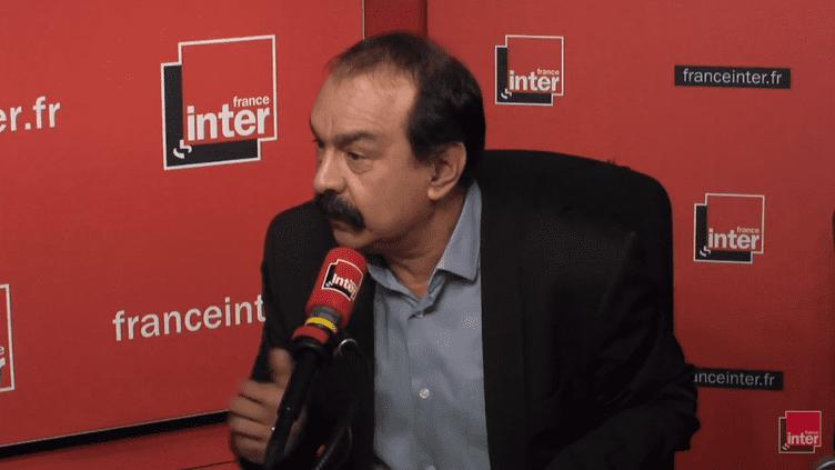 Philippe Martinez, secrétaire général de la CGT, le 16 février 2018. (CAPTURE ECRAN / FRANCEINFO)