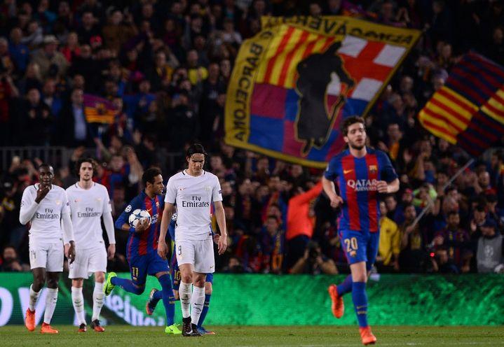 Lors du match retour au Camp Nou, Neymar inscrit le cinquième but pour le PSG. (JOSEP LAGO / AFP)