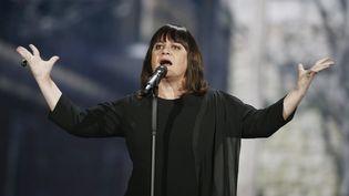Lisa Angell, candidate française à l'Eurovision, le 22 mai 2015 à Vienne (Autriche). (DIETER NAGL / AFP)