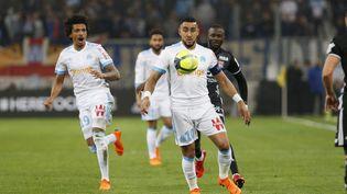 Le Marseillais Dimitri Payet lors d'un match de Ligue 1 particulièrement disputé contre Lyon, le 18 mars 2018 à Marseille. (PHILIPPE LAURENSON / AFP)