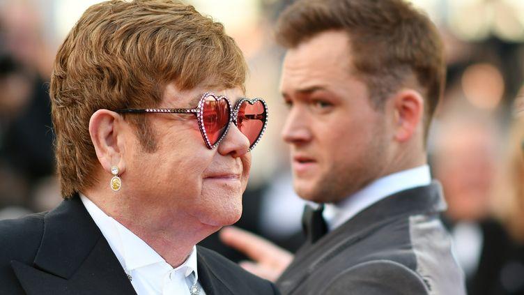 Elton John et l'acteur Taron Egerton à la projection du film Rocketman. (ALBERTO PIZZOLI / AFP)