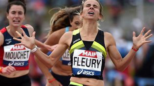 La Française Aurore Fleury, vainqueure du 1 500 m aux championnats de France d'athlétisme à Angers, le 26 juin 2021. (JEAN-FRANCOIS MONIER / AFP)