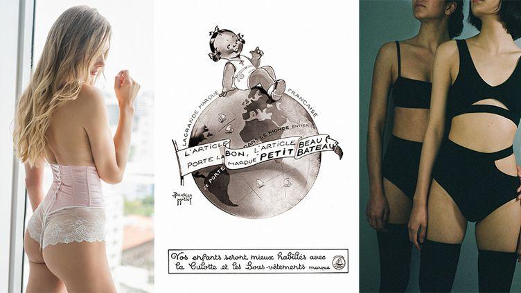 Cadolle (à gauche), Pub Petit Bateau, Marieyat (à droite)  (Petit Bateau (à gauche), Salon International de la Lingerie )