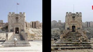 Capture d'écran montrant la citadelle d'Alep (Syrie) aujourd'hui détruite et quoi elle ressemblait il y a quatre ans (FRANCE 2)