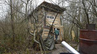 Une cabane construite par des opposants au projet de centre de stockage de déchets nucléaires, dans le Bois Lejuc à Bure (Meuse), le 22 février 2017. (JEAN CHRISTOPHE VERHAEGEN / AFP)