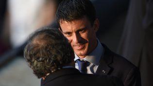 Le Premier ministre, Manuel Valls, avec Michel Platini, lors de la finale de la Ligue des champions, le 6 juin 2015 à Berlin (Allemagne). (ODD ANDERSEN / AFP)