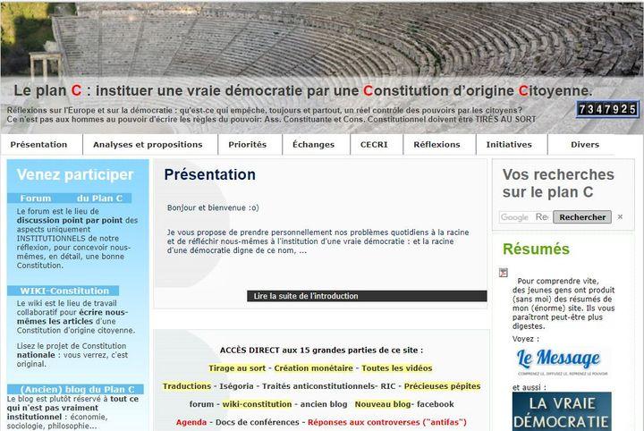 La page d'accueil du site internet d'Etienne Chouard. (ETIENNE CHOUARD / FREE)