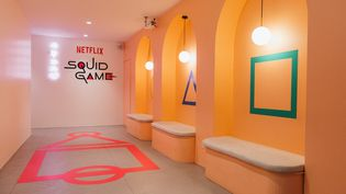 """Un""""Squid Game Café"""" a été installé, de manière éphémère, le 2 et le 3 octobre à Paris (REMY GOLINELLI - NETFLIX)"""