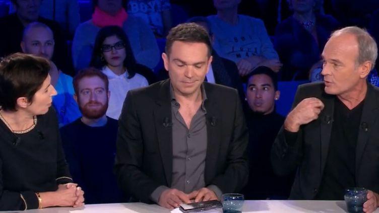 """Christine Angot, Yann Moix et Laurent Baffie, lors de l'émission """"On n'est pas couché"""" diffusée le 10 février 2018 sur France 2. (FRANCE 2)"""