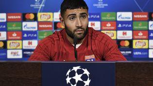 Le footballeur Nabil Fekir lors d'une conférence de prese de l'Olympique lyonnais à Decines-Charpieu (Rhône), le 6 novembre 2018. (JEFF PACHOUD / AFP)