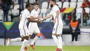 Karim Benzema, Jules Koundé et Benjamin Pavard contre la Belgique, à Turin, le 7 octobre 2021. (JEAN CATUFFE / JEAN CATUFFE / AFP)