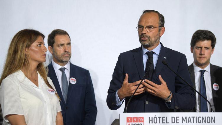 Le Premier ministre, Edouard Philippe, annonce des mesures pour lutter contre les violences conjugales, le 3 septembre 2019 à Matignon. (ERIC FEFERBERG / AFP)