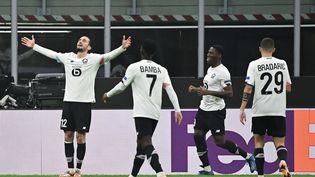 Yusuf Yazici fête un but contre l'AC Milan, le 5 novembre 2020, à Milan (Italie). (MIGUEL MEDINA / AFP)