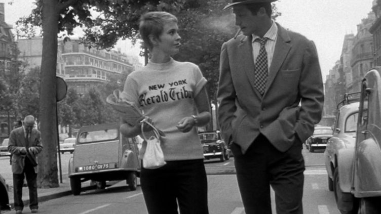 Jean Seberg et Jean-Paul Belmondo dans A bout de souffle de Jean-Luc Godard (1960).  (PRODUCTIONS GEORGES DE BEAUREGARD/COLLECTION CHRISTOPHEL VIA AFP)