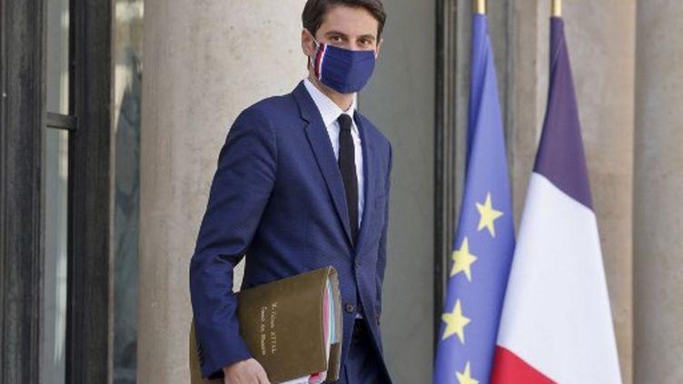 Le porte-parole du gouvernement Gabriel Attal à l'Elysée, le 31 mars 2021. (LUDOVIC MARIN / AFP)