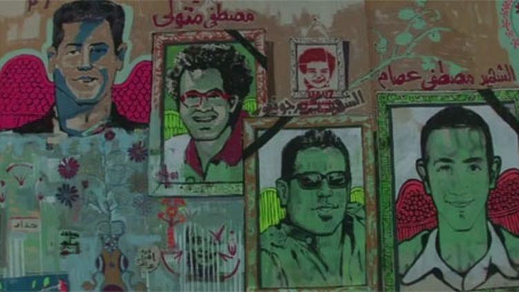Les peintures des jeunes protestataires qui ont laissé leur vie dans les violences de novembre 2011. (FTV)