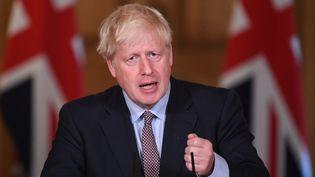 Le Premier ministre britannique Boris Johnson lors d'une conférence de presse à Londres, le 9 septembre 2020. (STEFAN ROUSSEAU / POOL / AFP)