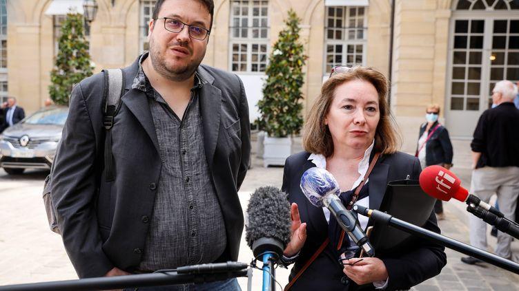 Grégoire Fraty (à gauche) faisait partie de la délégation de la Convention Citoyenne pour le Climat reçue à Matignon le 20 juillet 2020. (THOMAS PADILLA / MAXPPP)