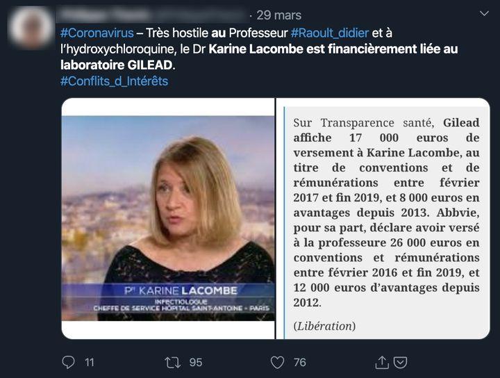 Capture d'écran d'un tweet datant du 29 mars, évoquant une relation financière entre le laboratoire pharmaceutique américain Gilead et Karine Lacombe. (CAPTURE ECRAN)