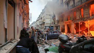 Une explosion s'est produite rue de Trévise, dans le 9earrondissementà Paris, le 12 janvier 2019. (EMILY MOLLI / NURPHOTO / AFP)