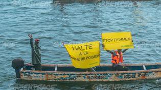 """Les pêcheurs artisanaux de Dakar affichent une banderole """"Stop à la farine de poisson"""", le 14 septembre 2019. Un rapport de Greenpeace de juin 2021 dénonce la production industrielle de ces farines. . (KHALILUS/ Greenpeace)"""