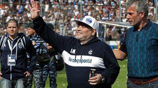 Diego Maradona, au stade del Bosque, à La Plata en Argentine, le 8 septembre 2019. (ALEJANDRO PAGNI / AFP)