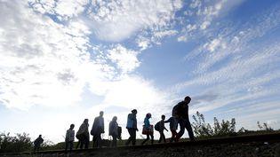 Des migrants marchent le long d'une voie ferrée, le 7 septembre 2015, à Roszke (Hongrie). (LASZLO BALOGH / REUTERS)
