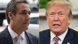 L'avocat Michael Cohen (à gauche) et son client Donald Trump (à droite). (MARK WILSON / AFP)