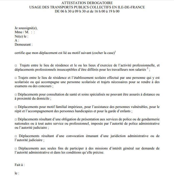 Auto-attestation à remplir pour emprunter les transports publics en Ile-de-France aux heures de pointe. (PREFECTURE ILE DE FRANCE)