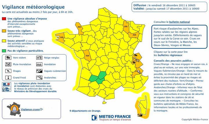 Carte d'alerte de Meteo France, datée du 16 décembre à 16 heures. (DR)