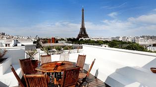Vue de la terrasse de 315 mètres carrés d'un appartement en vente dans le 16e arrondissement à 46 millions d'euros. (PARIS OUEST SOTHEBY'S INTERNATIONAL REALTY)