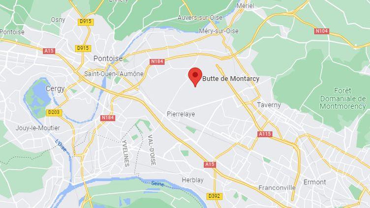 Une quarantaine d'enfants roms vivant sur la butte de Montarcy à Méry-sur-Oise (Val-d'Oise) présentent une intoxication au plomb, a fait savoir l'ARS d'Ile-de-France, le 17 septembre 2021. (GOOGLE MAPS)
