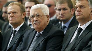 Le président palestien Mahmoud Abbas le 30 septembre 2016 à Jérusalem (Israël) pour les obsèques de Shimon Peres. (ABIR SULTAN / AFP)