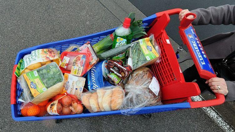 Une personne fait ses courses dans un supermarché, à Bailleul (Nord), le 20 janvier 2012. (PHILIPPE HUGUEN / AFP)