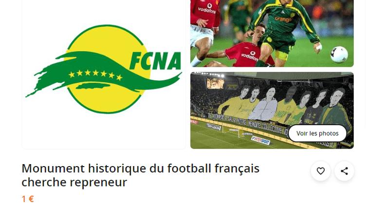 Un supporter du FC Nantes a mis son club en vente sur le site de petites annonces Le Bon Coin.
