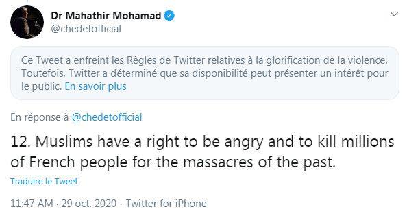 Capture d'écran d'un message deMahathir Mohamad, ancien Premier ministre de Malaisie, avant qu'il ne soit finalement supprimé par Twitter, le 29 octobre 2020. (TWITTER)