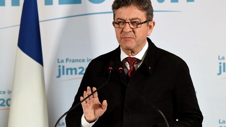 Jean-Luc Mélenchon lors de son discours prononcé au soir du premier tour de la présidentielle, dimanche 23 avril 2017 à Paris. (BERTRAND GUAY / AFP)