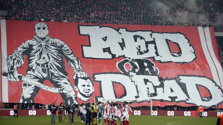 La banderole déployée par des supporters lors du classico belge Standard-Anderlecht, le 25 janvier 2015, à Liège (Belgique). (YORICK JANSENS / BELGA / AFP)