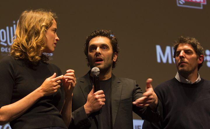 Adèle Haenel, Pio Marmaï et Damien Bonnard lors de la séance de questions/réponses après la projection à la Quinzaine des Réalisateurs le 14 mai 2018