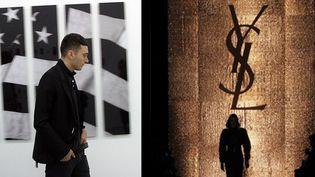 """Hedi Slimane à Berlin en juin 2007 pour l'expo """"Sweet bird of youth"""". Logo YSL lors du pap ah 2012-2013  (A gauche. A.Klein. A droite, Xamax. AFP)"""