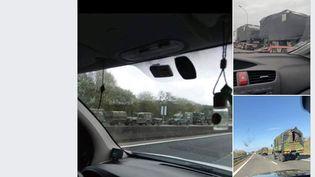 Capture d'écran d'une personne sur Facebook qui partage des photos des convois de l'armée le 16 mars 2020. (FACEBOOK)