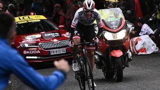 Patrick Konrad (Bora Hansgrohe) a remporté la 16e étape du Tour de France 2021, le 13 juillet. (ANNE-CHRISTINE POUJOULAT / AFP)