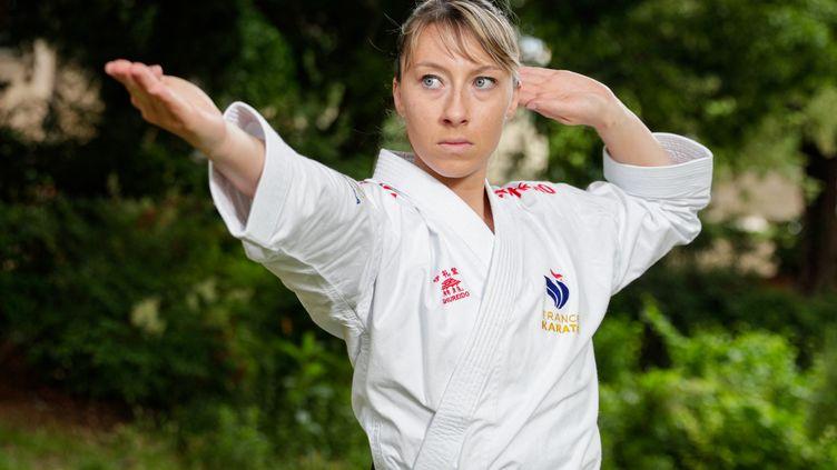 Alexandra Feracci, la seule représentantecorse aux Jeux olympiques de Tokyo en karaté. (GEOFFROY VAN DER HASSELT / AFP)
