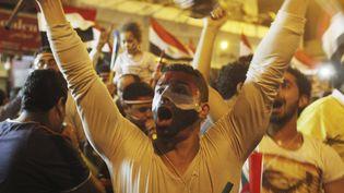 Un manifestant anti-Morsi célèbre la décision de l'armée de destituer le président islamiste, le 3 juillet 2013 au Caire (Egypte). (ASMAA WAGUIH / REUTERS)